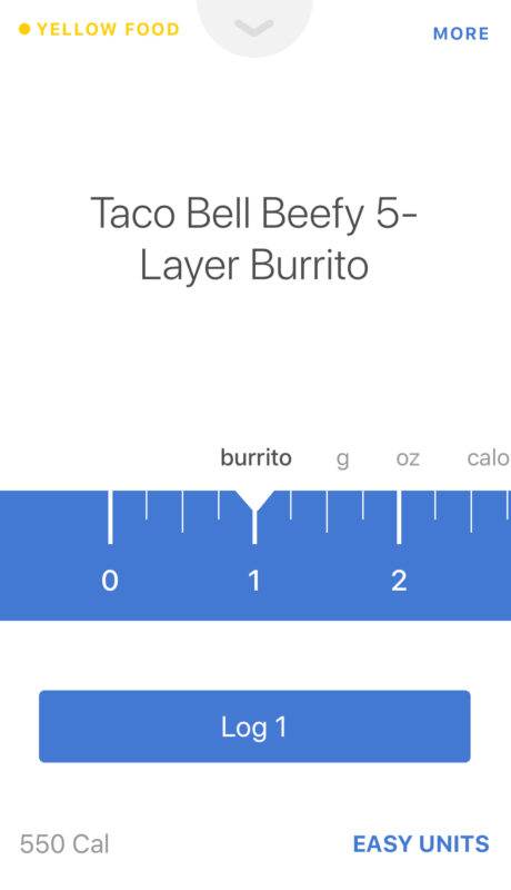 Screenshot of Noom's calories for one Taco Bell Beefy 5-Layer Burrito