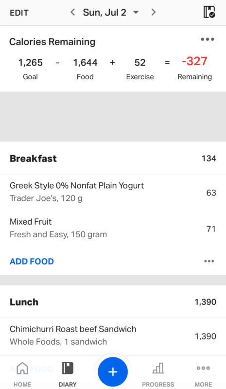 A screenshot of the MyFitnessPal food tracker
