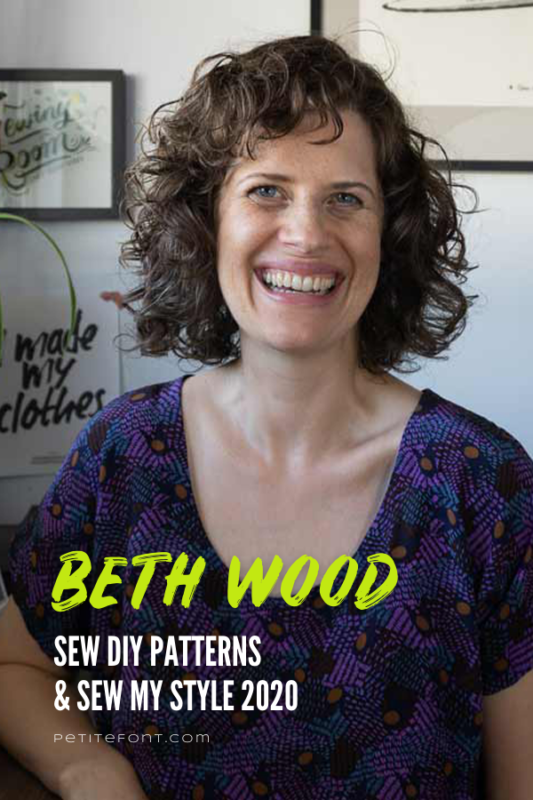 Sew DIY designer sitting in her work space with text overlay that reads Beth Wood Sew DIY Patterns & Sew My Style 2020
