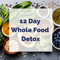 Bowls of spices, vegetables, and fruits with a white box and text overlay that reads 12 day whole food detox