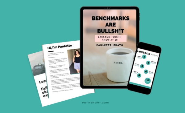 "Teal background with several mobile devices and pages showcasing the cover of the book ""Benchmarks are Bullsh*t"""