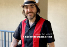 Ryan leaning against a blue railing wearing a straw hat, red and black colorblocked bowling shirt, and blue jeans. Text overlay reads How to Make a Retro Bowling Shirt