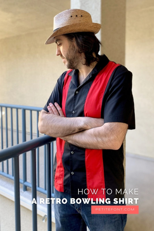 Ryan looking down over a blue railing with his arms crossed, wearing a straw hat, red and black colorblocked bowling shirt, and blue jeans. Text overlay reads How to Make a Retro Bowling Shirt