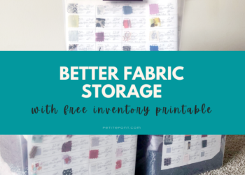 "Storage bins on the ground with text overlay that reads ""better fabric storage with free inventory printable"""