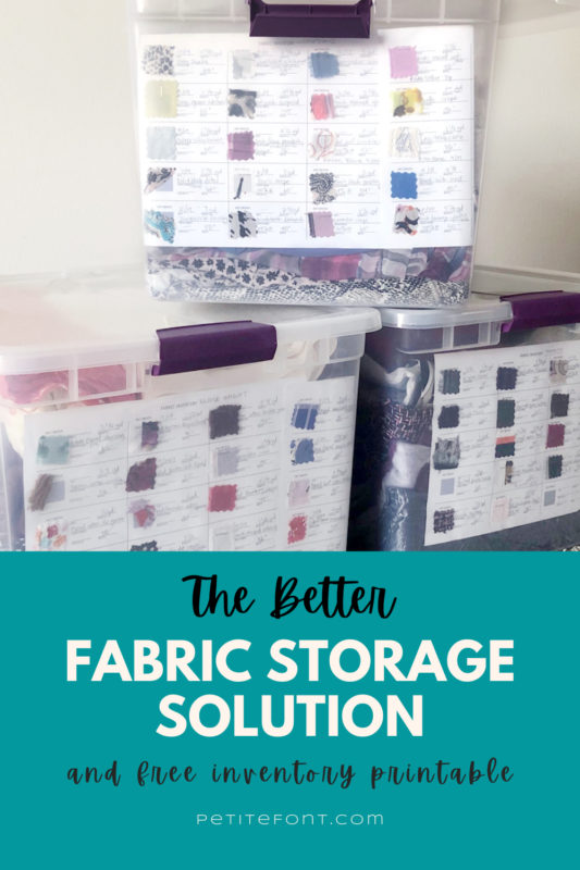"Storage bins stacked with text overlay that reads ""the better fabric storage solution with free inventory printable"""