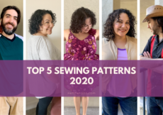 """5 pictures of Paulette or Ryan in different outfits. Text overlay reads """"top 5 sewing patterns 2020"""""""