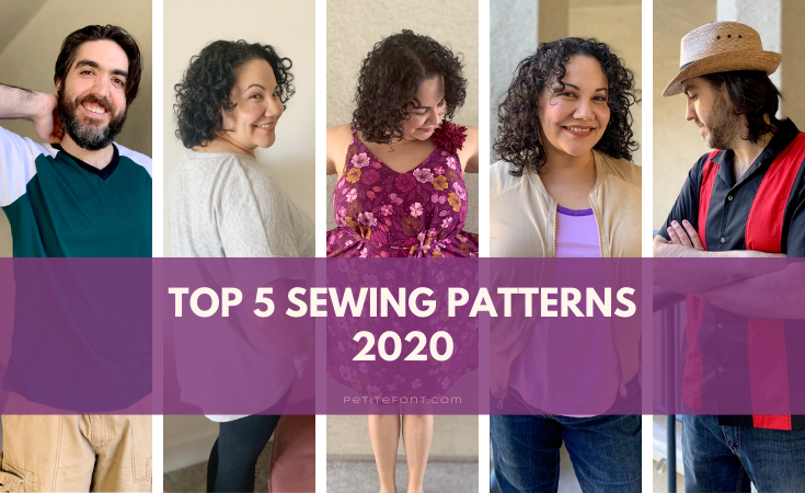 "5 pictures of Paulette or Ryan in different outfits. Text overlay reads ""top 5 sewing patterns 2020"""