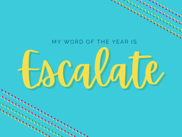 Turquoise background with multi-colored dots in the corner. Text in the middle reads my word of the year is escalate