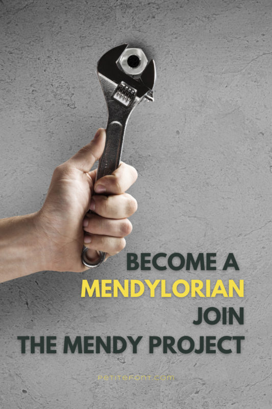 "A hand holding a wrench with a nut in its jaw. Text overlay reads ""become a mendylorian. Join The Mendy Project."""