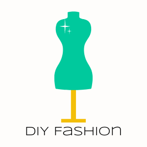 Turquoise seamstress mannequin on a gold stand. Text overlay reads DIY Fashion
