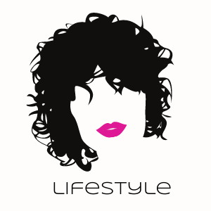 Curly hair silhouette of a woman's face with pink lips. Text reads Lifestyle