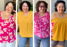 4 panels showing a short haired Latina woman in various bright pink and gold summer blouses
