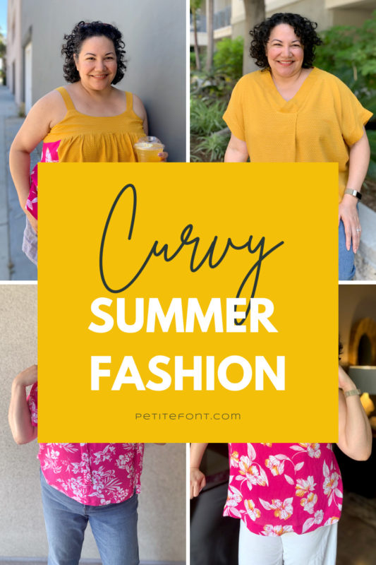 4-block images of summery tops blocked by large gold rectangle with text overlay that reads Curvy Summer Fashion