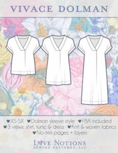 Cover art depicting 3 line drawings of the v-neck shirt the Vivace Dolman