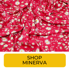 Swatch of hot pink ditzy floral rayon from Minerva
