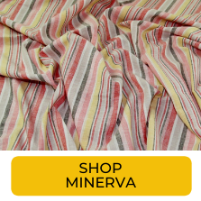 Swatch of painterly multicolored vertical striped fabric from Minerva
