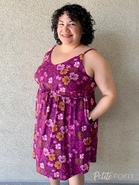 Paulette in a purple floral Misty Cami dress