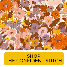 Swatch of earth tone floral rayon challis from The Confident Stitch
