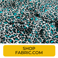 Swatch of turquoise cheetah print chiffon fabric from Fabric.com