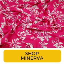 Swatch of hot pink and white large scale botanical print fabric from Minerva
