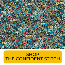 Swatch of blue and pink ditzy floral Japanese lawn from The Confident Stitch